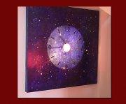 Lichtbildobjekt blau 140x140x5,5cm Holz/ Leinwand/ Acryl/ Svarovsky-Kristalle